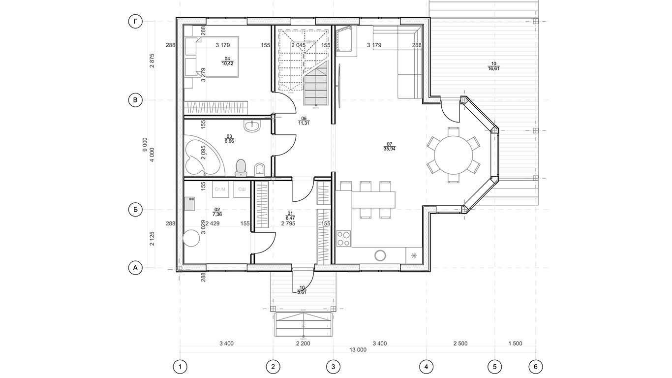 План 1 этажа Kassel Rahmenhaus  (Каркасный дом Кассель)