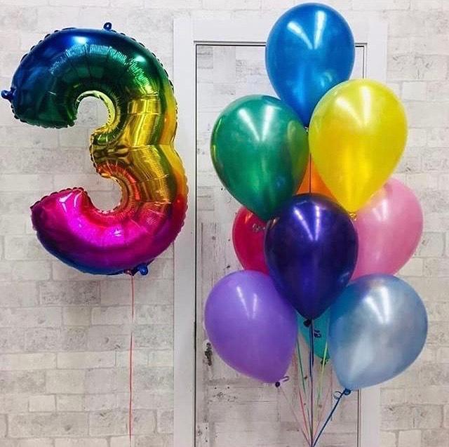Цветные шары с цифрой 3