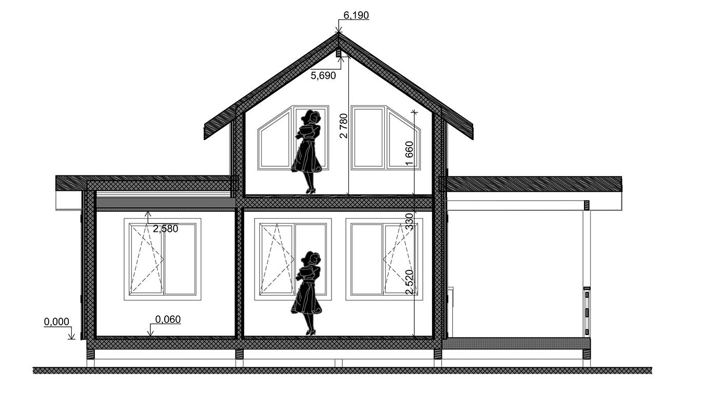 Разрез Osterburg Rahmenhaus (Каркасный дом Остерберг) 2