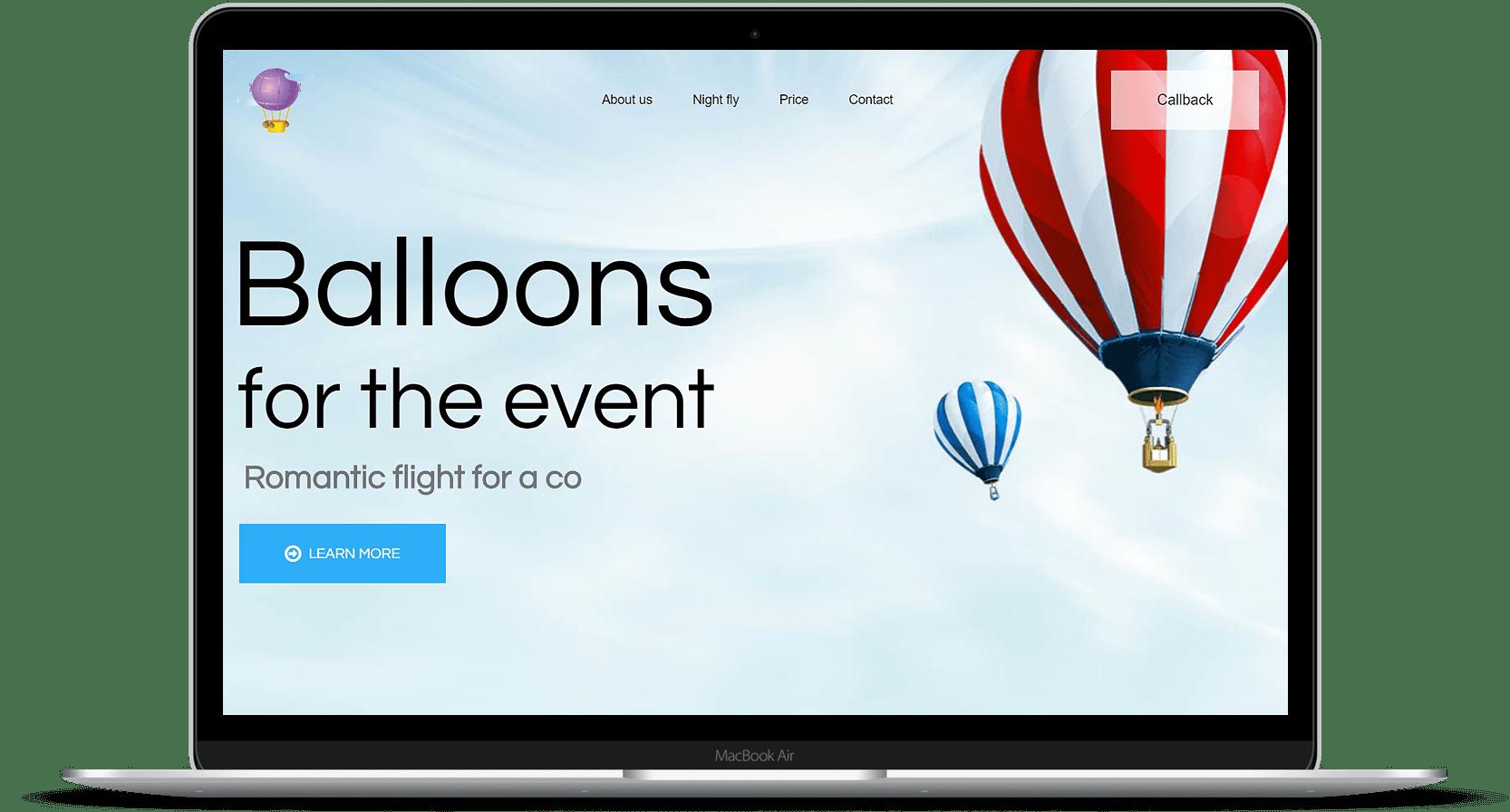 Сайт для фирмы воздушных шаров в сша