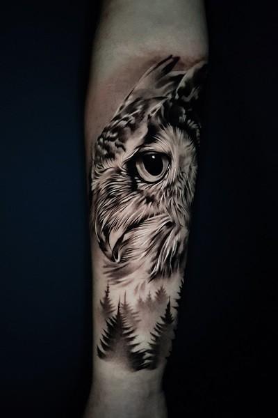 татуировка совы в стиле реализм в Новосибирске