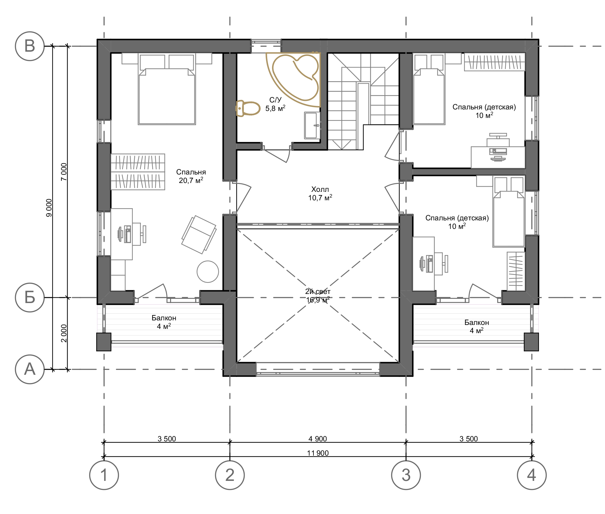 План второго этажа Hannover 2.0  (Дом Ганновер)