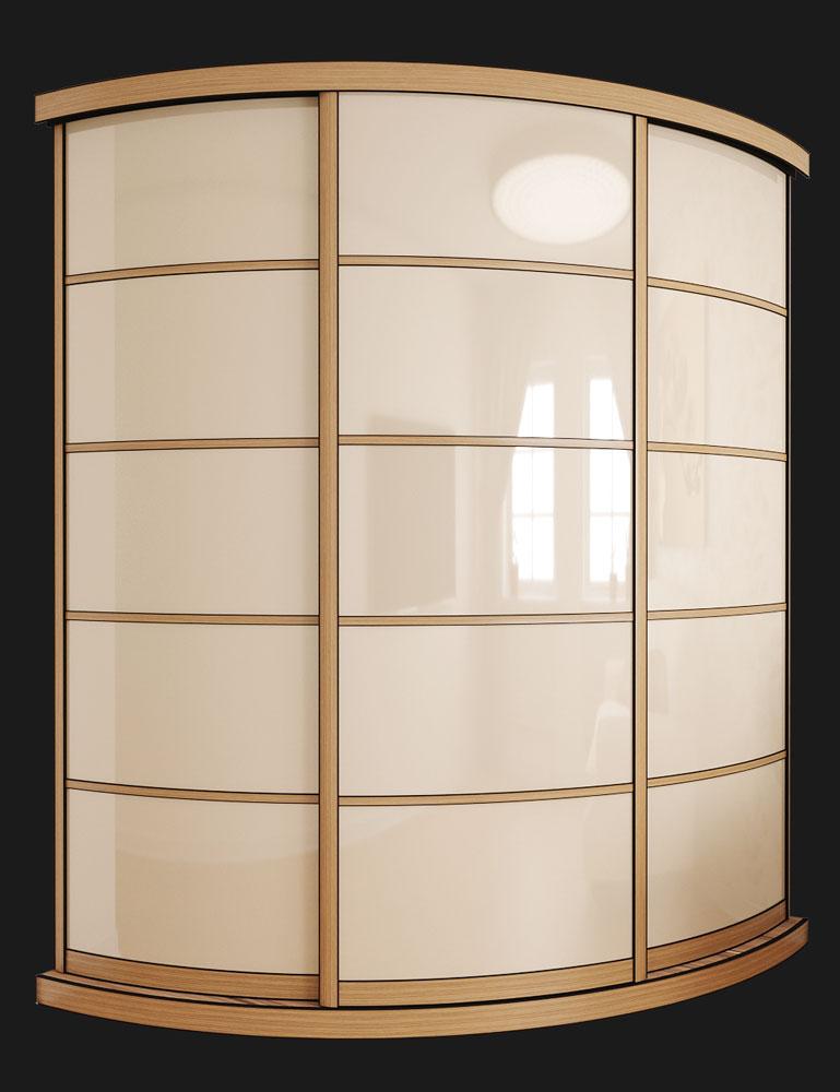 Выгнутый радиусный шкаф M-2 Крем и Венге светлый