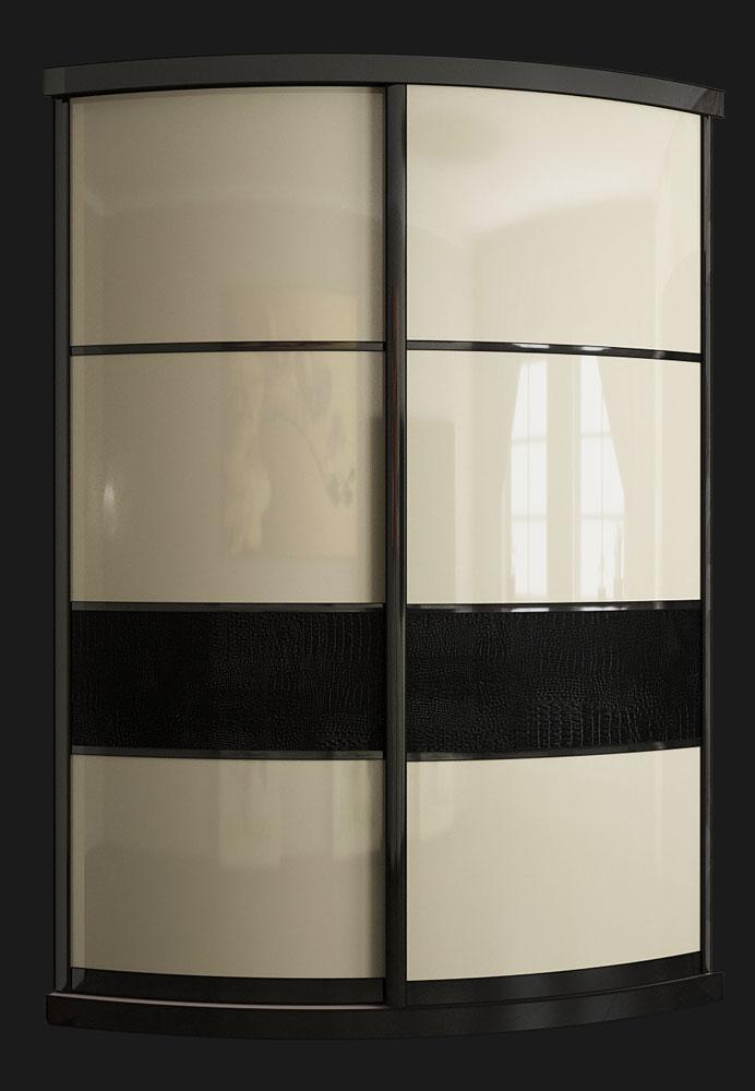 Выгнутый радиусный шкаф M-4 бежевый и крок