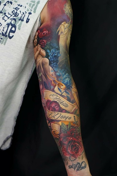 татуировка фотография эскиз мужская на руке медведь
