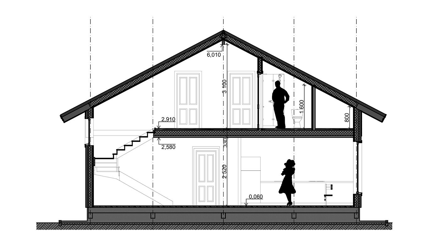 Разрез Frankfurt 1.0 Rahmenhaus  (Каркасный дом Франкфурт 1.0)