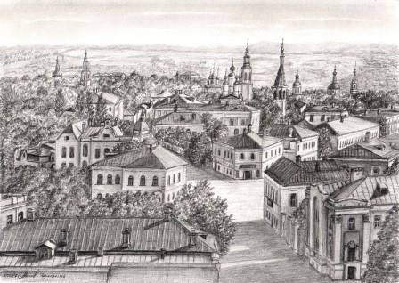 Вид с Благовещенской церкви на стрелку Воскресенской и Никитской (ныне Ленина)