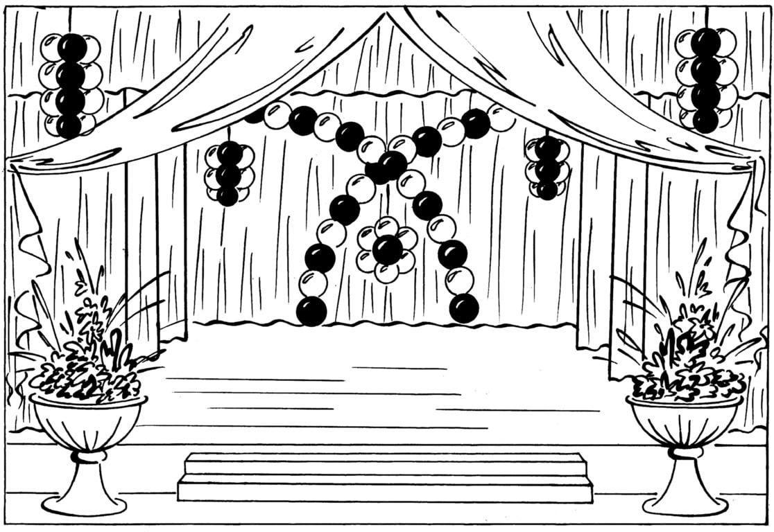 эскиз оформления шарами