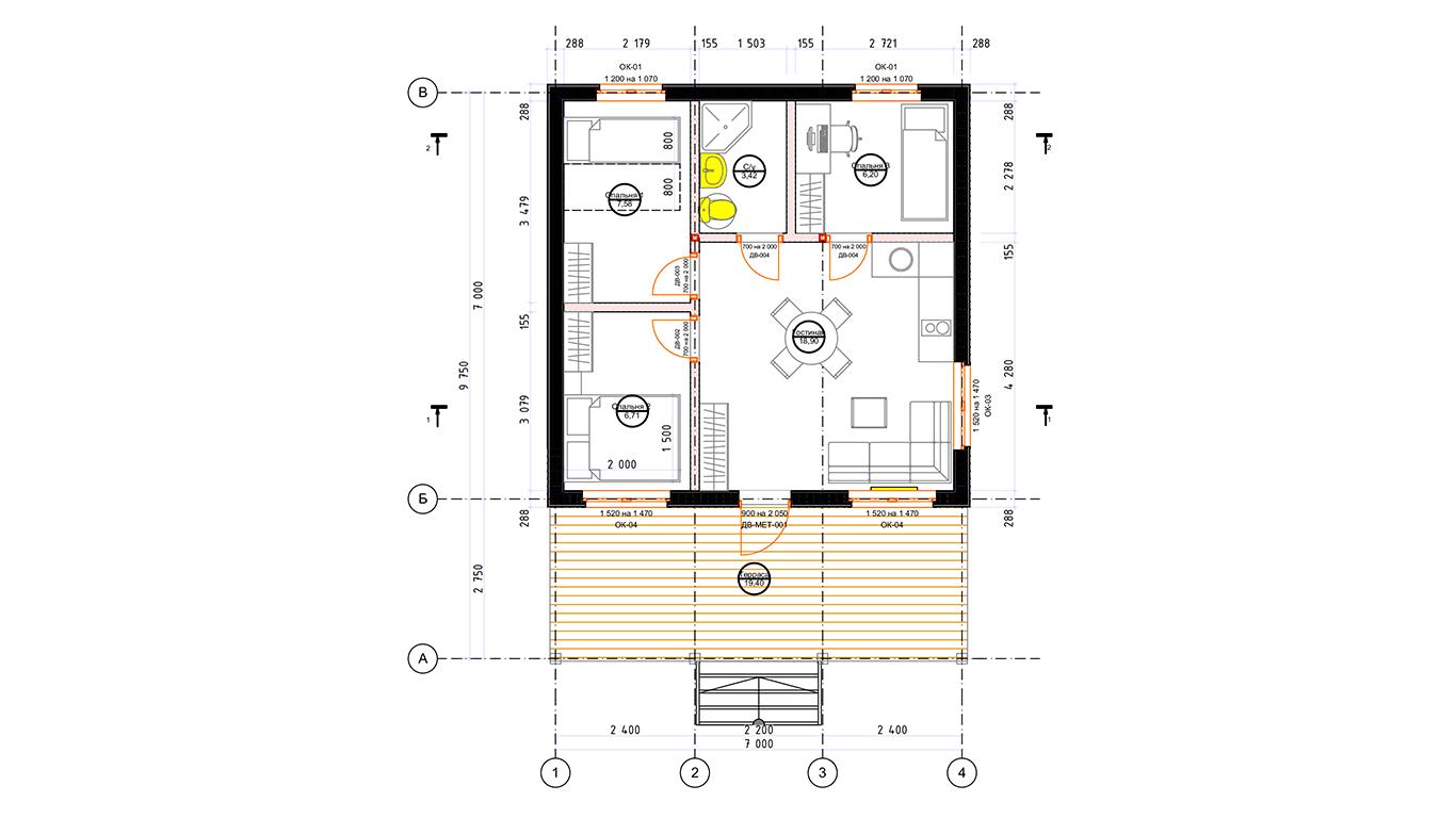 План первого этажа Dresden Rahmenhaus (Каркасный дом Дрезден)