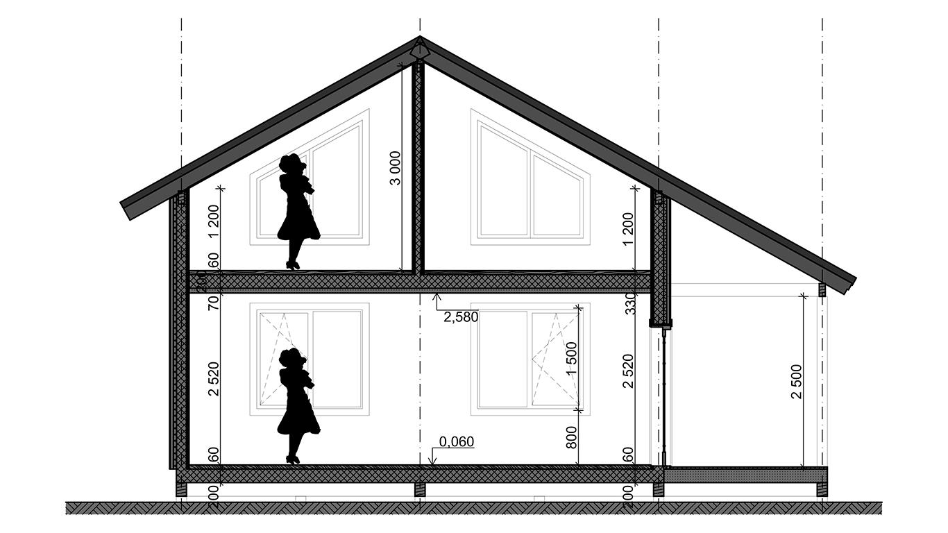Разрез Koln 1.1 Rahmenhaus (Каркасный дом Кельн 1.1)