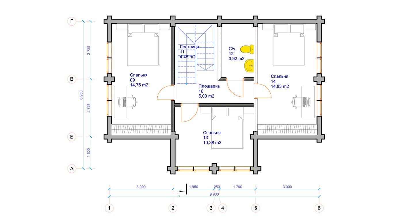 План второго этажа Osterburg (Дом Остербург)
