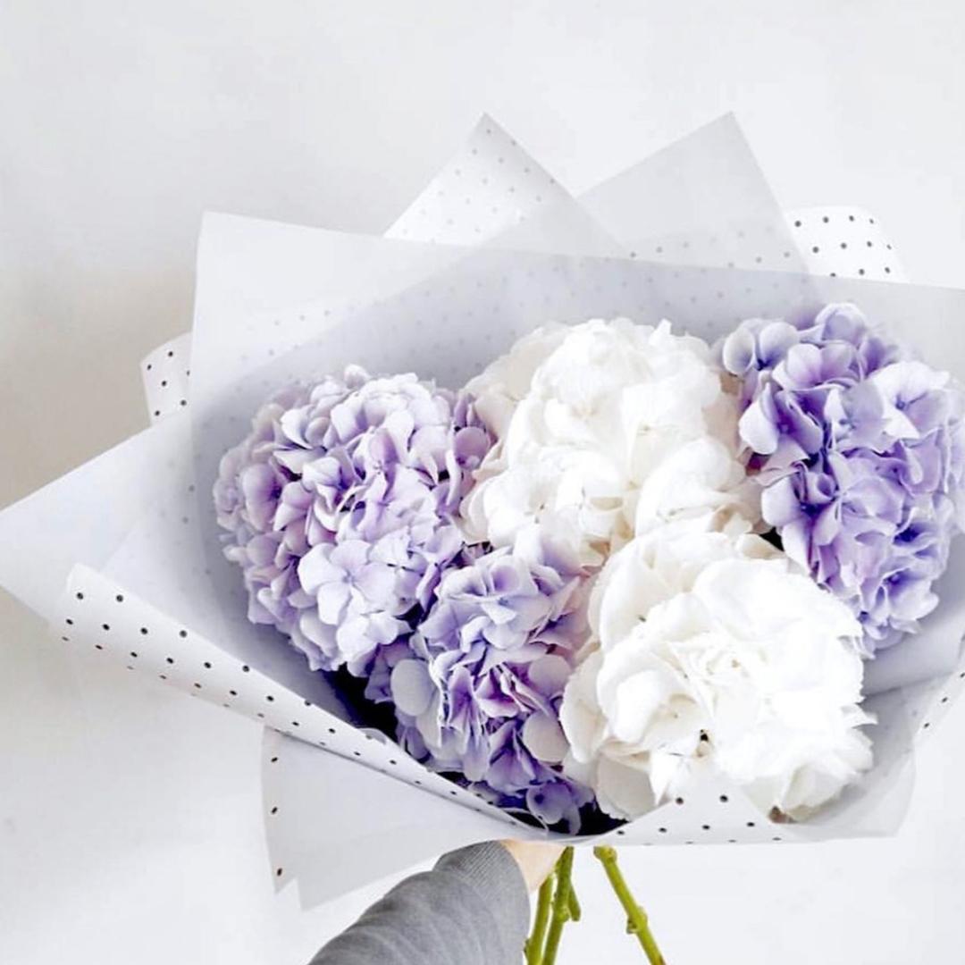 Микс белых и бледно-фиолетовых гортензий в крафте