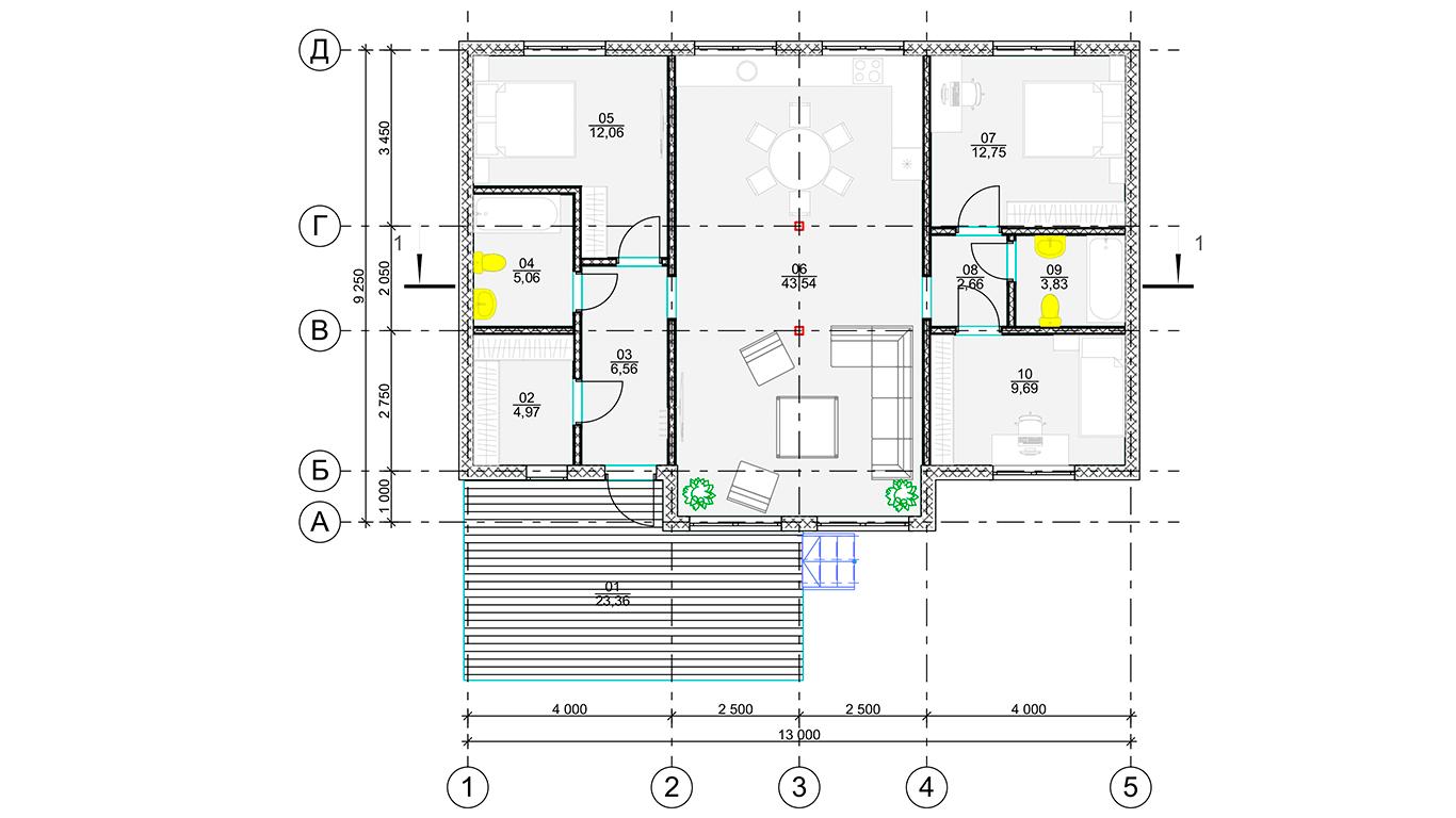План первого этажа Bonn Rahmenhaus (Каркасный дом Бонн)