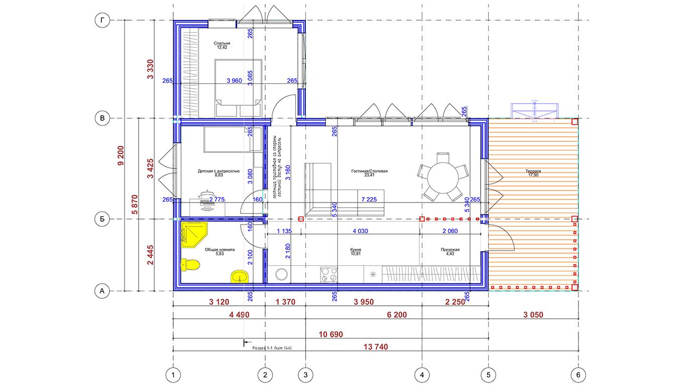 Планировка Hagen Rahmenhaus (Каркасный дом Хаген)
