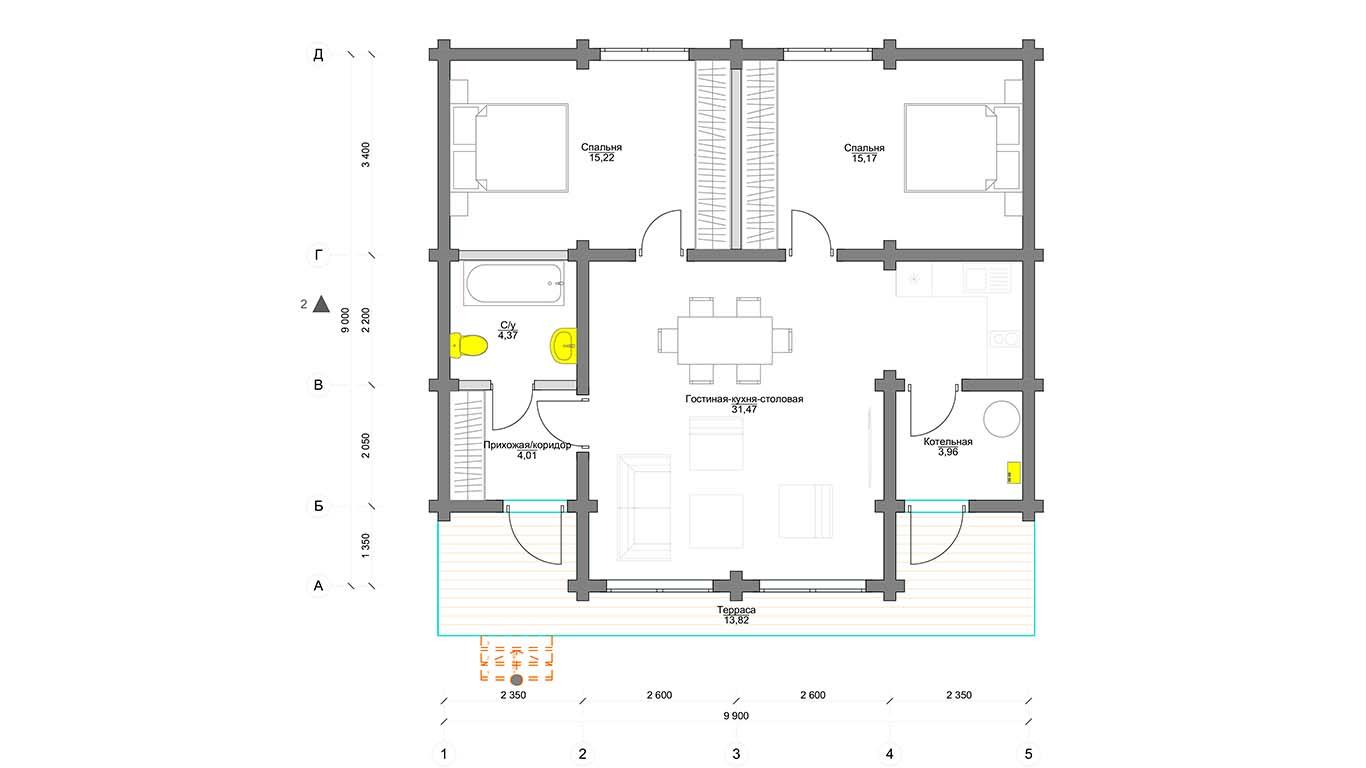 Планировка Frankfurt 1 этаж  (Дом Франкфурт 1 этаж)