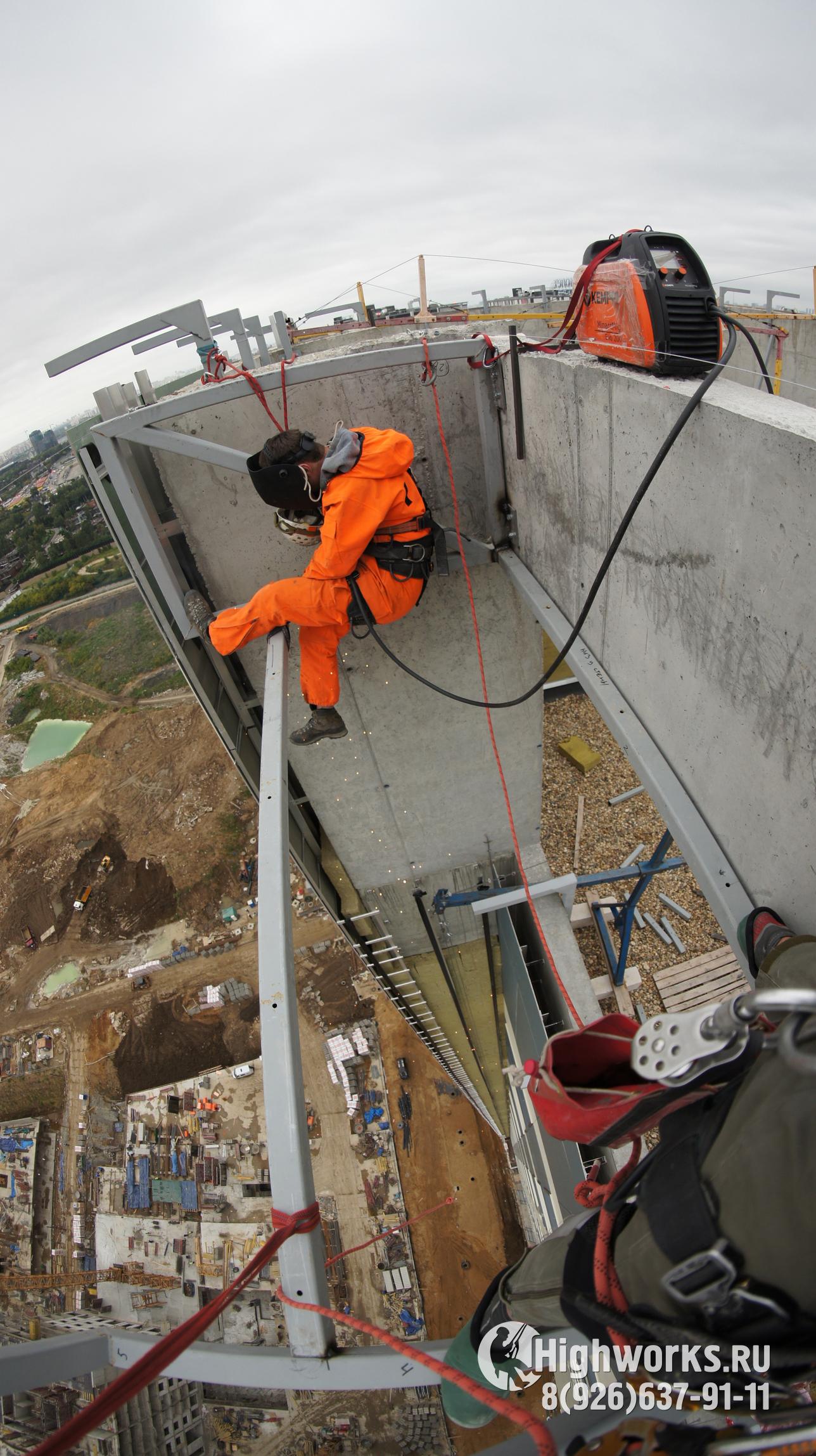 Сварочные работы промышленными альпинистами