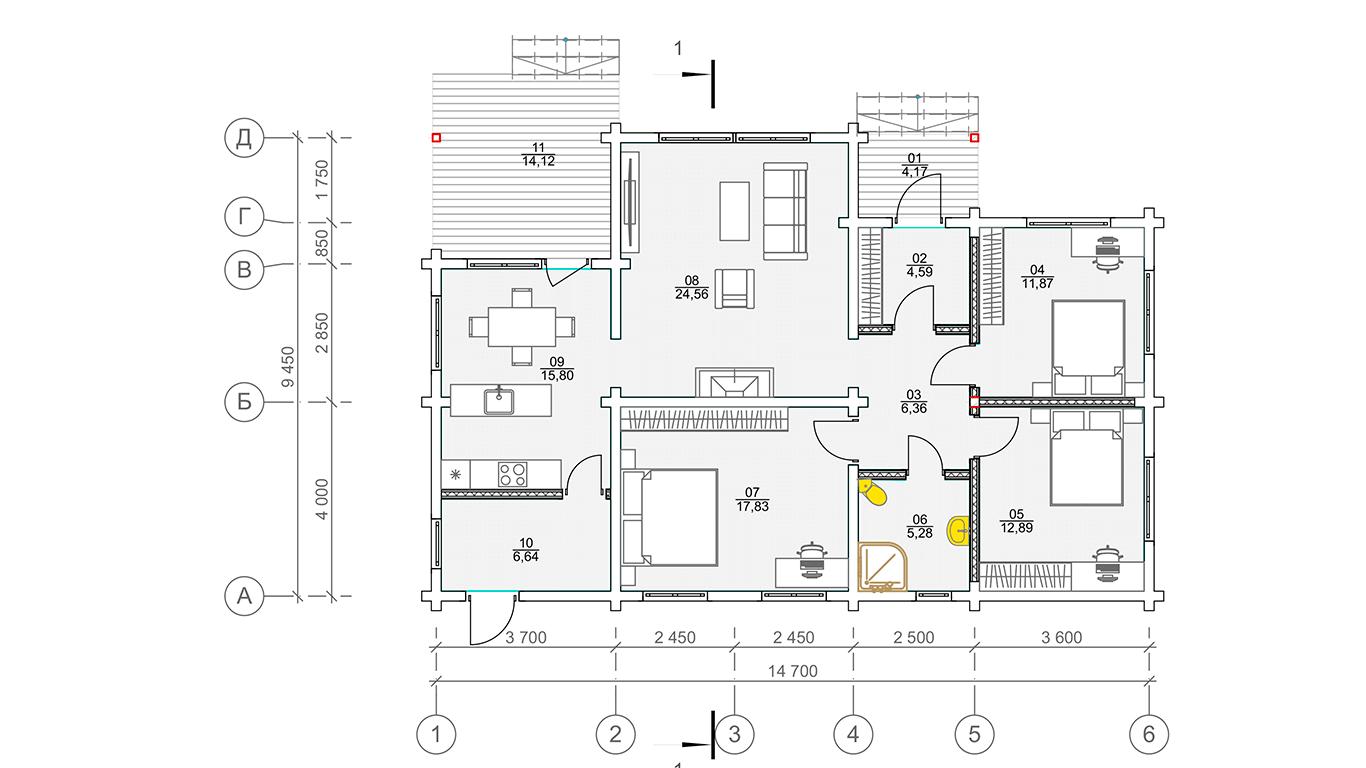 План первого этажа Lübek 1.1 (Дом Любек)