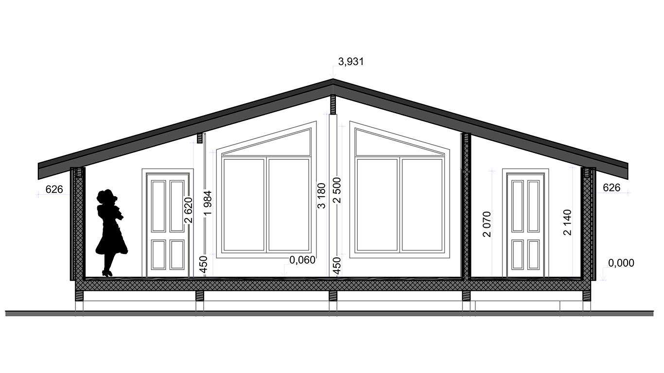 Разрез Frunkfurt 1et Rahmenhaus (Каркасный дом Франкфурт 1эт)