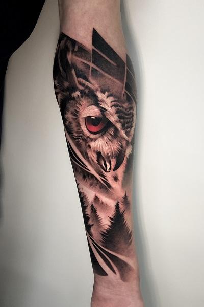 татуировка совы в реализме