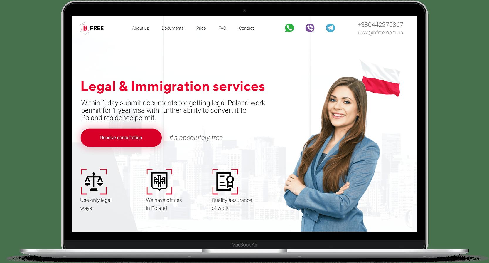 Сайт по миграционным услугам в польше
