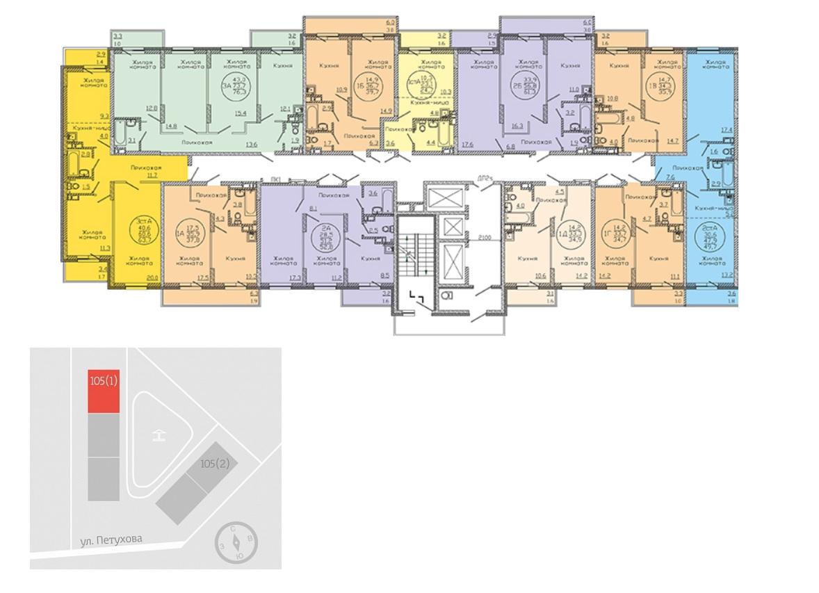 План типового этажа дома по ул.Петухова 105 дом 1 ЖК Матрешкин двор фото