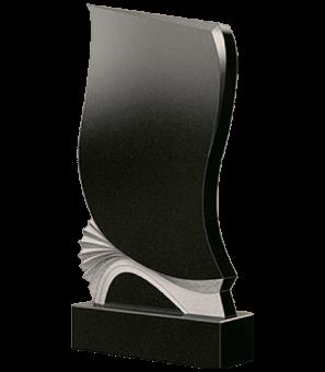Памятник из гранита непрямой формы с неполированным веером снизу