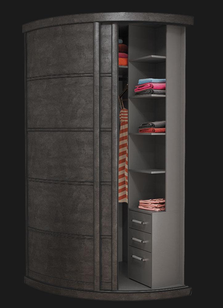 Выгнутый радиусный шкаф M-1 Камень Серый