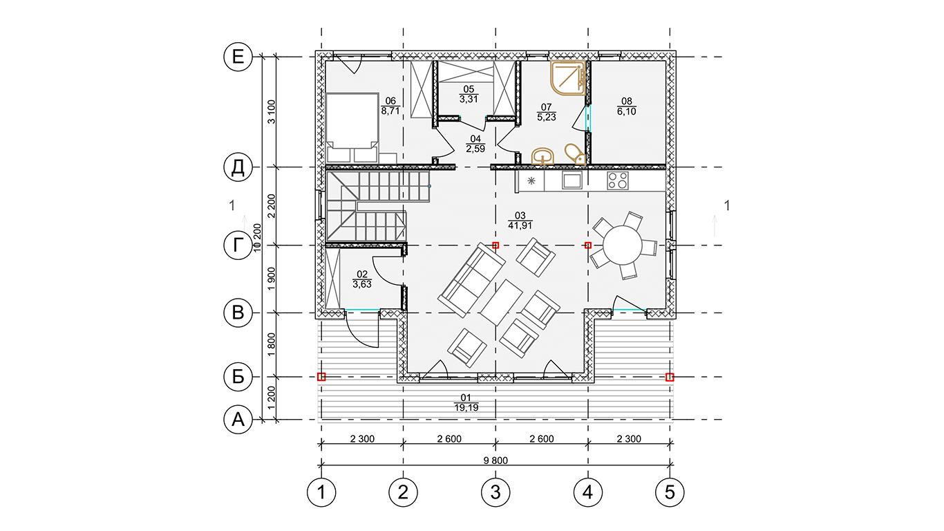 План первого этажа Frankfurt 1.0 Rahmenhaus  (Каркасный дом Франкфурт 1.0)