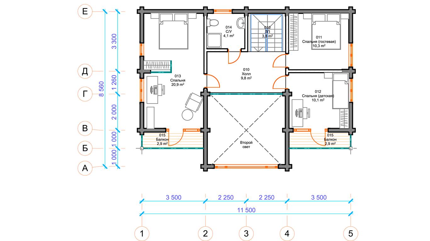 План второго этажа Hannover 1.0 (Дом Ганновер)