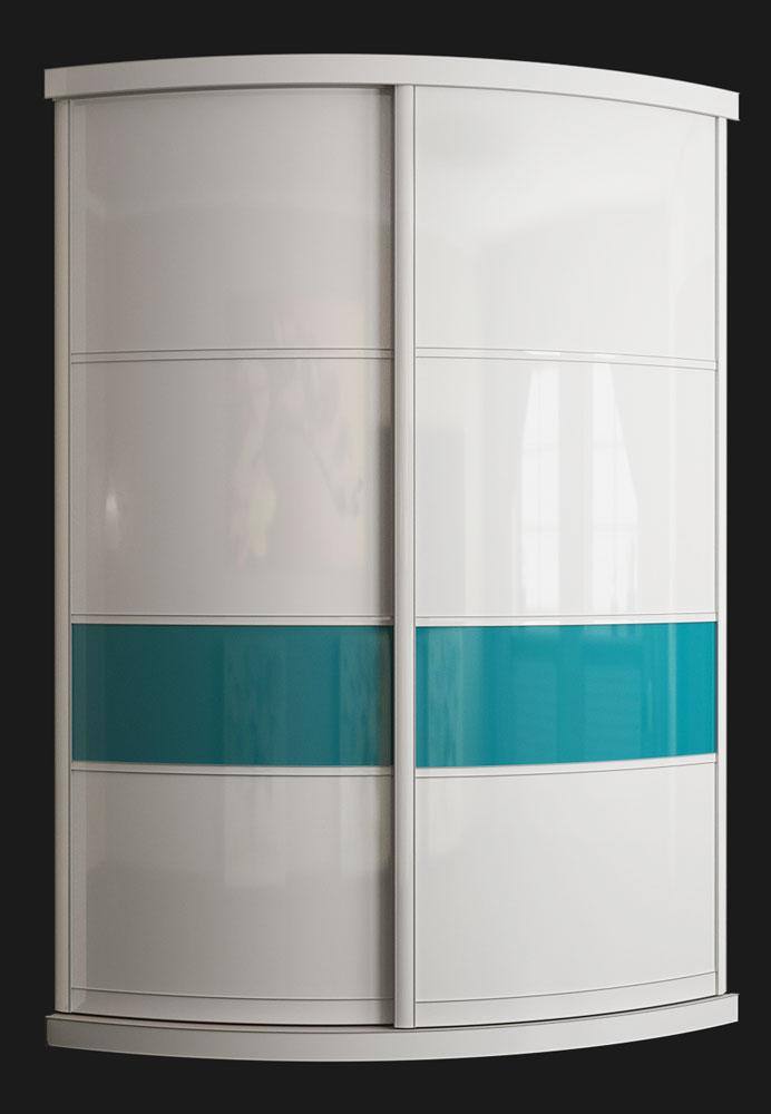 Выгнутый радиусный шкаф M-4 белый и аквамарин