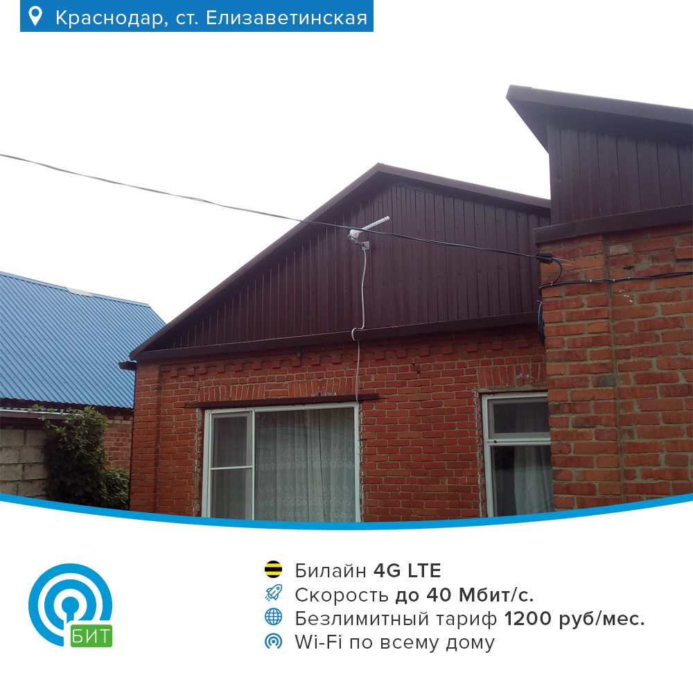 4G интернет Билайн в Елизаветинской