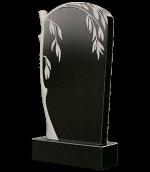 Гранитный памятник со склоненной над портретом ивой