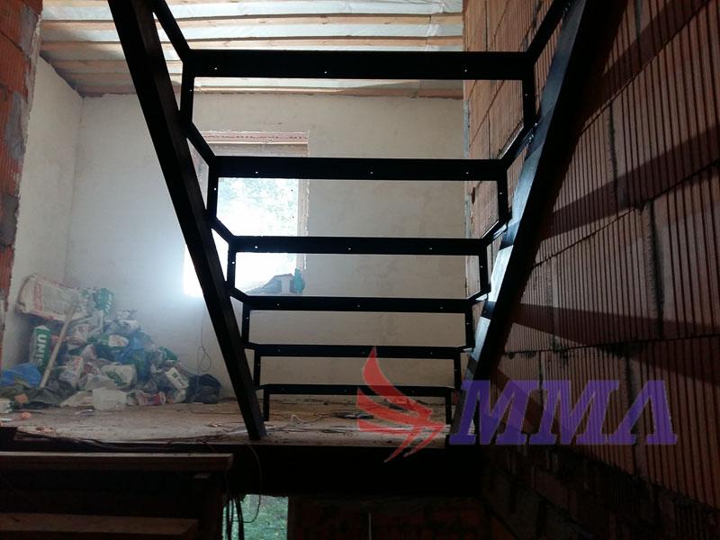 лестница, металл, каркас, дом, кирпич,