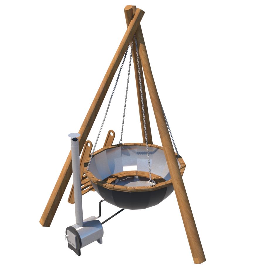Премиум банный чан на цепях и треноге