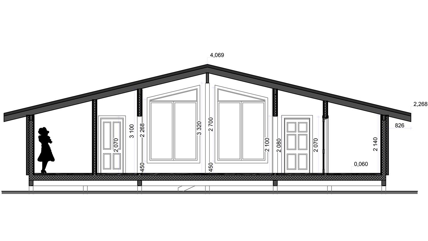Разрез Bonn Rahmenhaus (Каркасный дом Бонн)