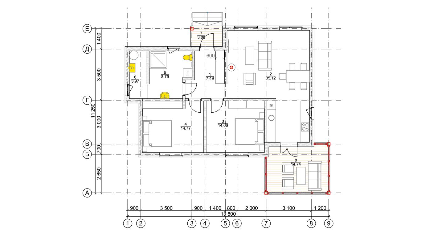 План первого этажа Plessa Rahmenhaus (Каркасный дом Пресса)
