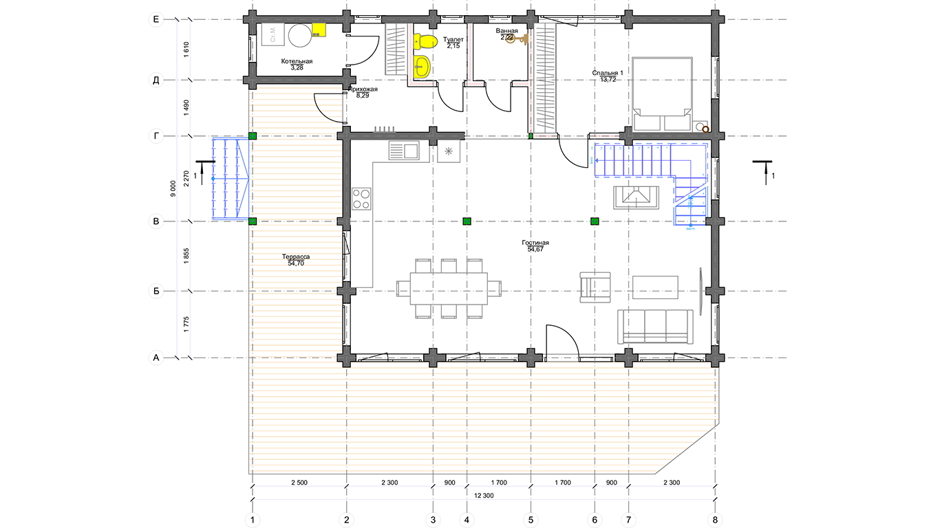 План первого этажа Frunkfurt Che (Дом Франкфурт Че)