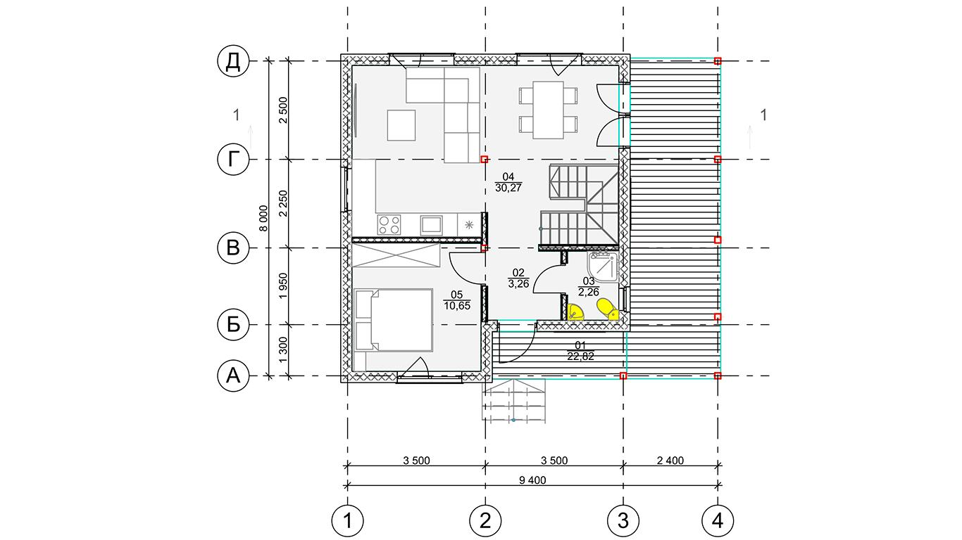 План первого этажа Koln 1.1 Rahmenhaus (Каркасный дом Кельн 1.1)
