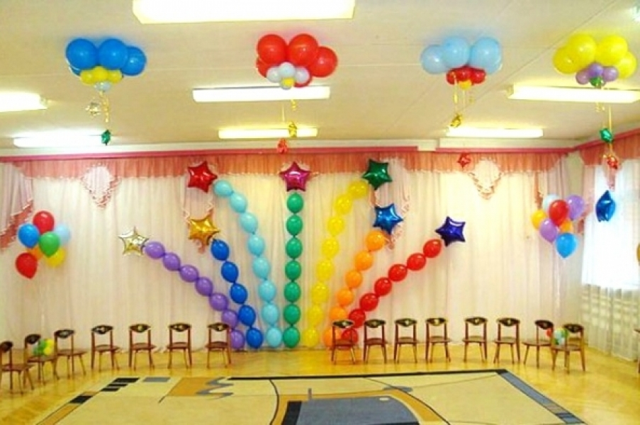 Украшение зал шарами на выпускной в детский сад