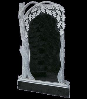 Памятник из гранита с фрезерованным дубом над портретом