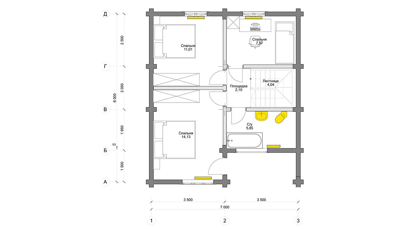 План второго этажа Köln 1.0 (Дом Кельн)