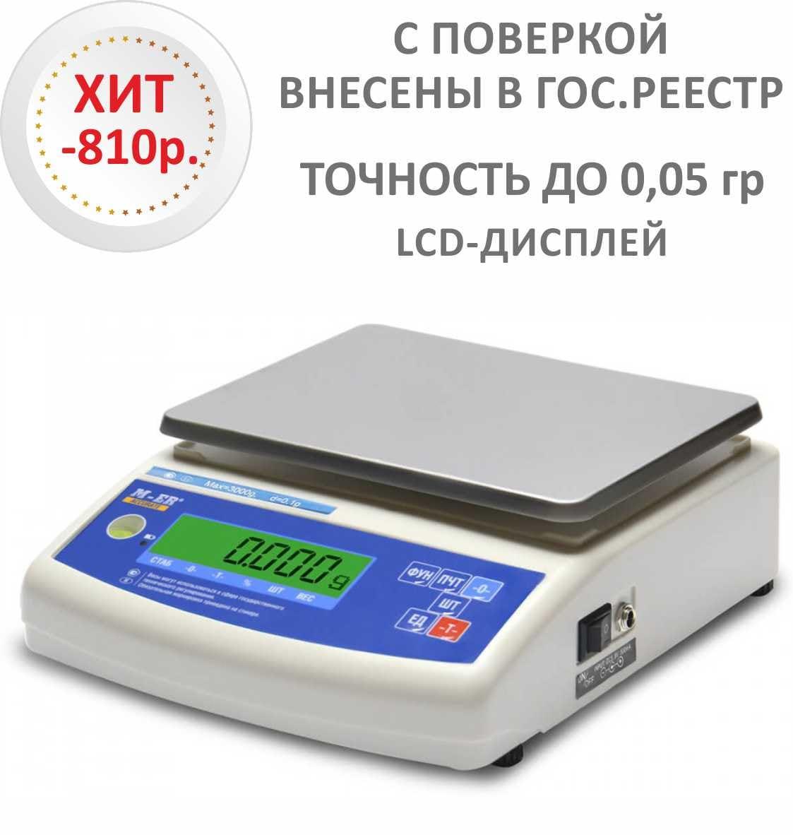 Весы лабораторные/аналитические M-ER 122 АCF-1500.05 ACCURATE LCD - вид спереди