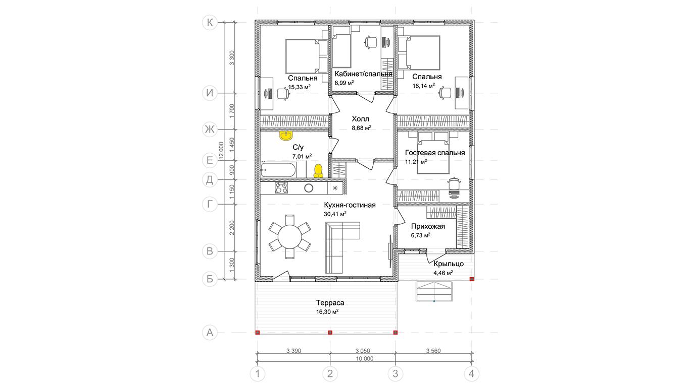 План первого этажа Buttel Rahmenhaus 2.0 (Каркасный дом Буттель 2.0)
