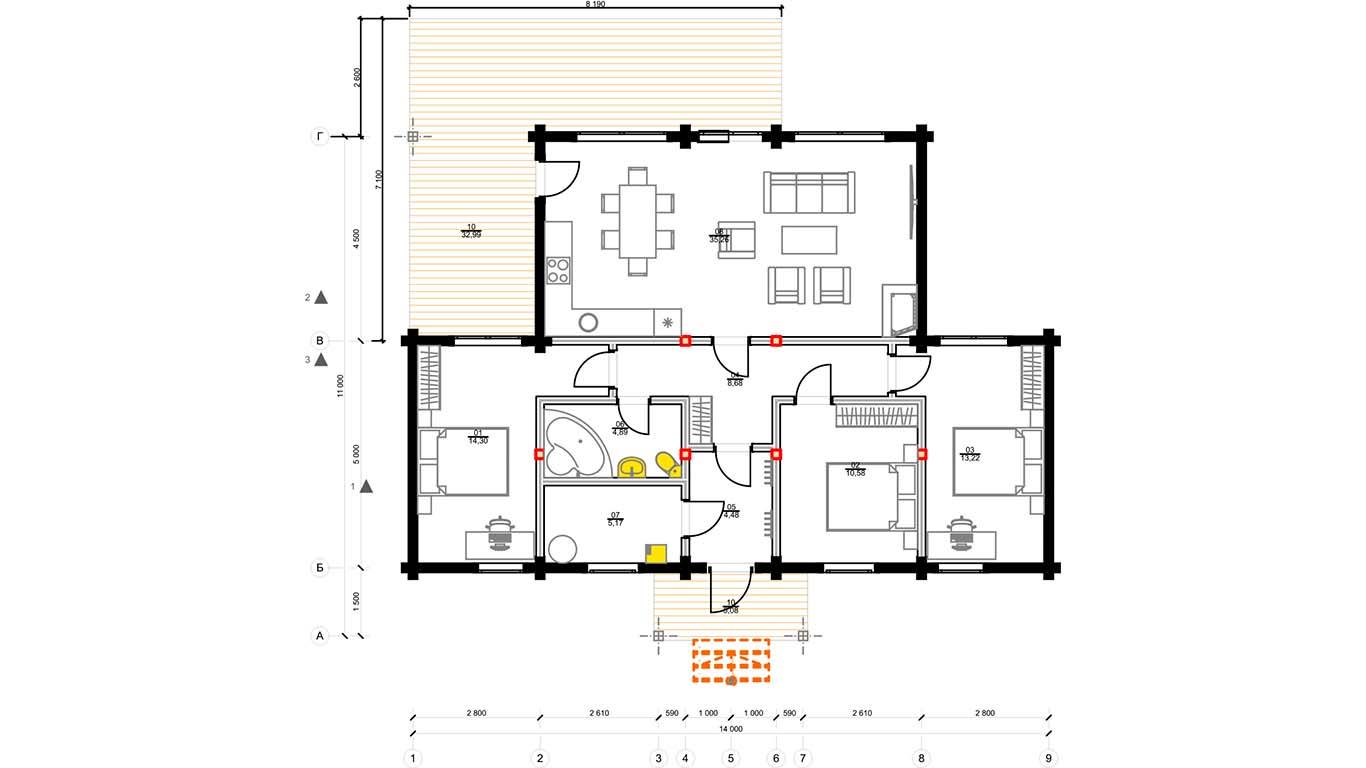 План первого этажа Villingen 1.0 (Дом Филлинген)