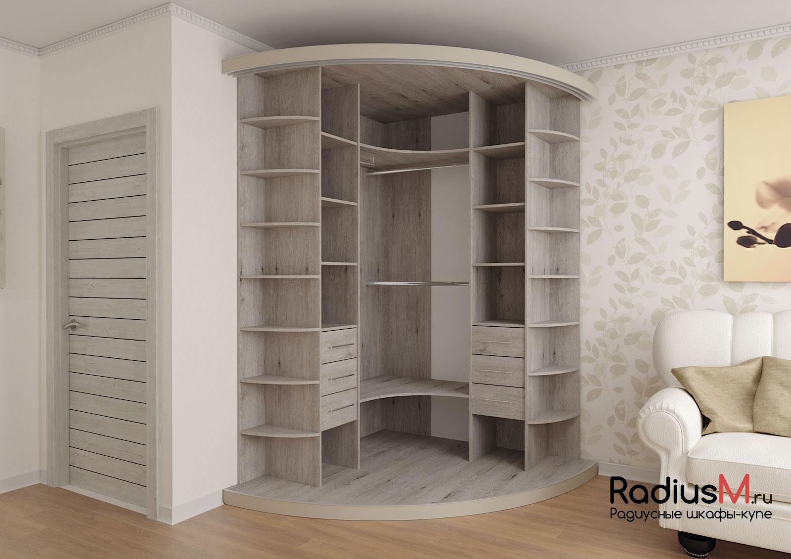 Бежевый радиусный шкаф