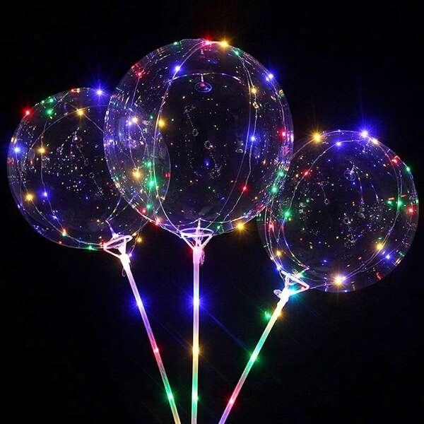 Прозрачные шары со светодиодами на палочке с воздухом баблс