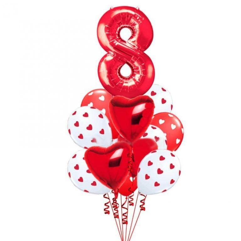 Цифра 8 + 7 шаров + 2 сердца