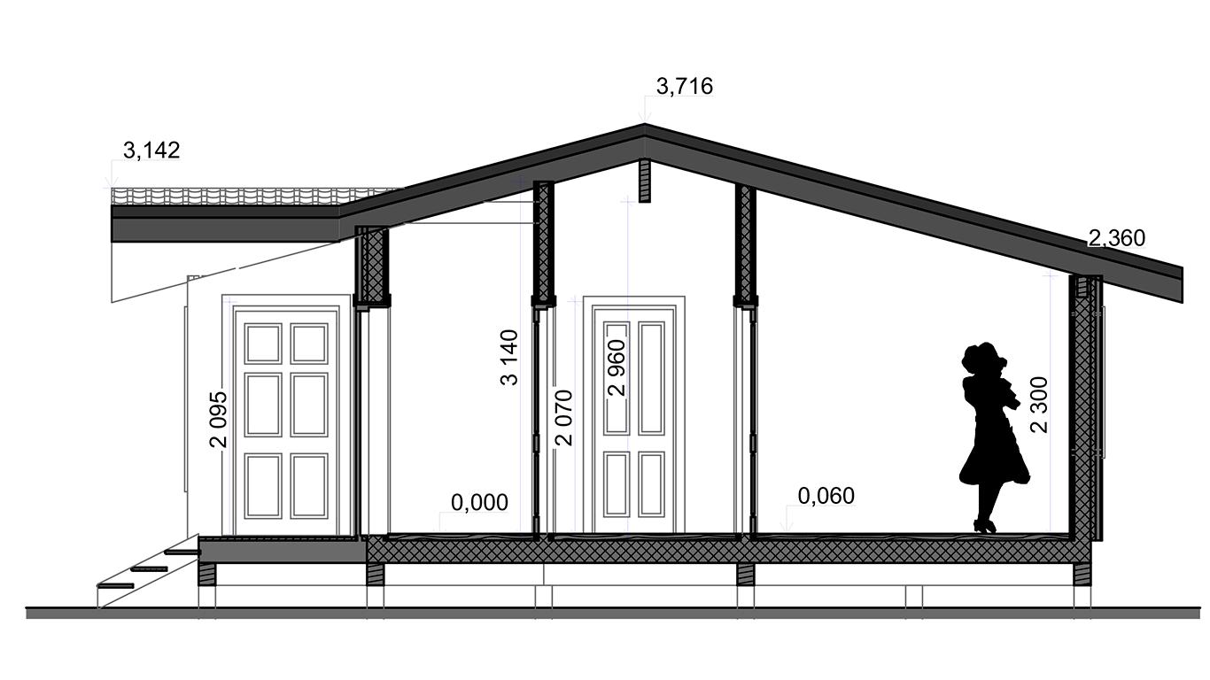 Разрез Dortmund Rahmenhaus 1.2 (Каркасный дом Дортмунд 1.2) 1