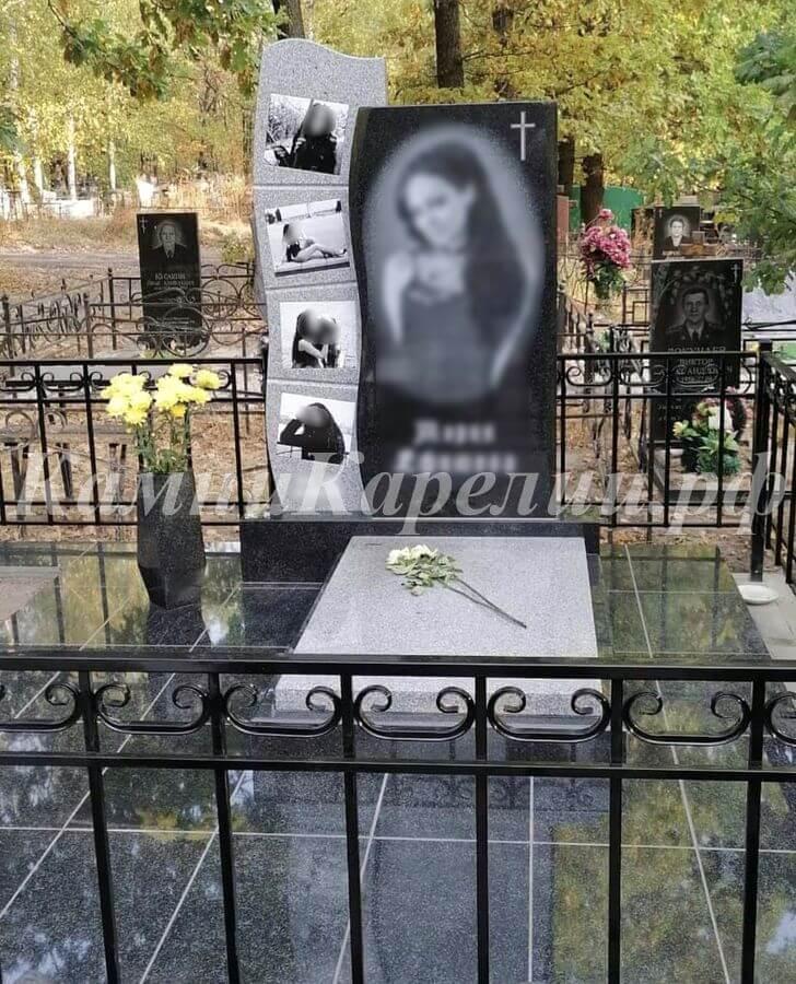 Вертикальный гранитный одиночный памятник имеет место под ряд фотографий. В изготовлении использован Покостовский гранит и габбро-диабаз карельского происхождения.