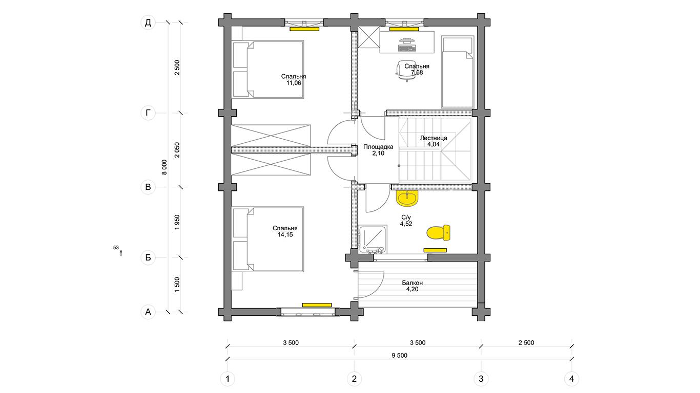 План второго этажа Köln 1.1 (Дом Кельн)